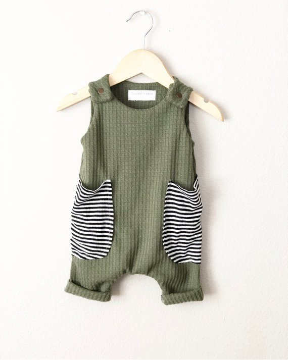 Photo of Items similar to Baby boy harem romper, olive green waffle knit, baby boy outfit, baggy stripes pockets – tank romper on Etsy