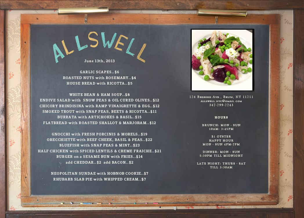 """Allswell """"Chef Nate Smith serves a revolving selection"""