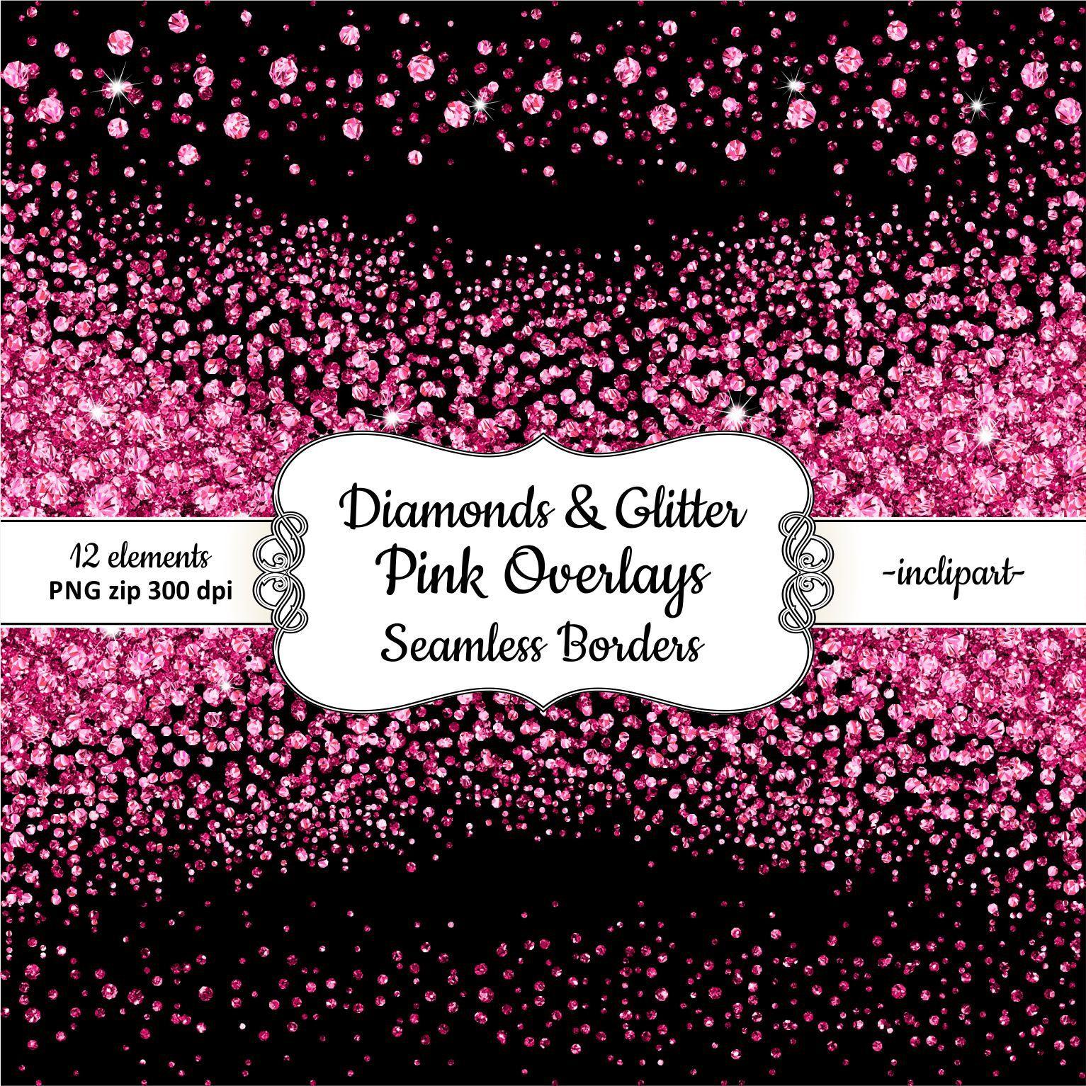 Pink Diamond Clipart Seamless side border diamond & glitter clipart
