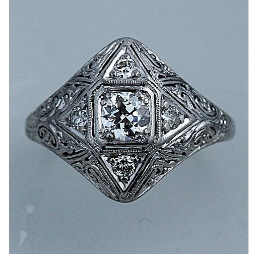 edwardian  18 Kt White Gold Old European Cut Diamond Engagement Ring Circa Early 1900's #weddings