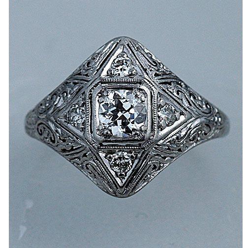 edwardian  18 Kt White Gold Old European Cut Diamond Engagement Ring Circa Early 1900's #weddings