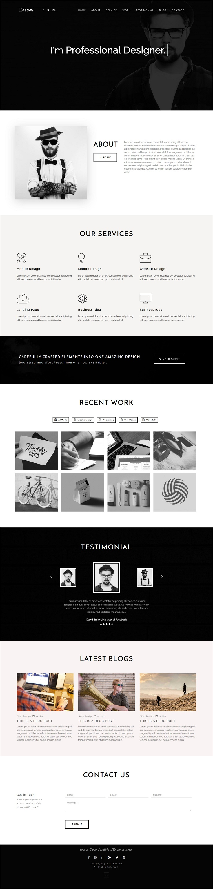 resumi responsive resume personal portfolio template pinterest