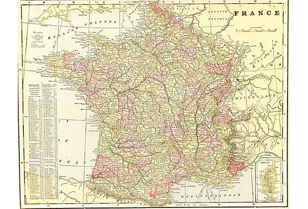 "Map of France 1905 on eKingsLane $125 16"" L x 20"" W"
