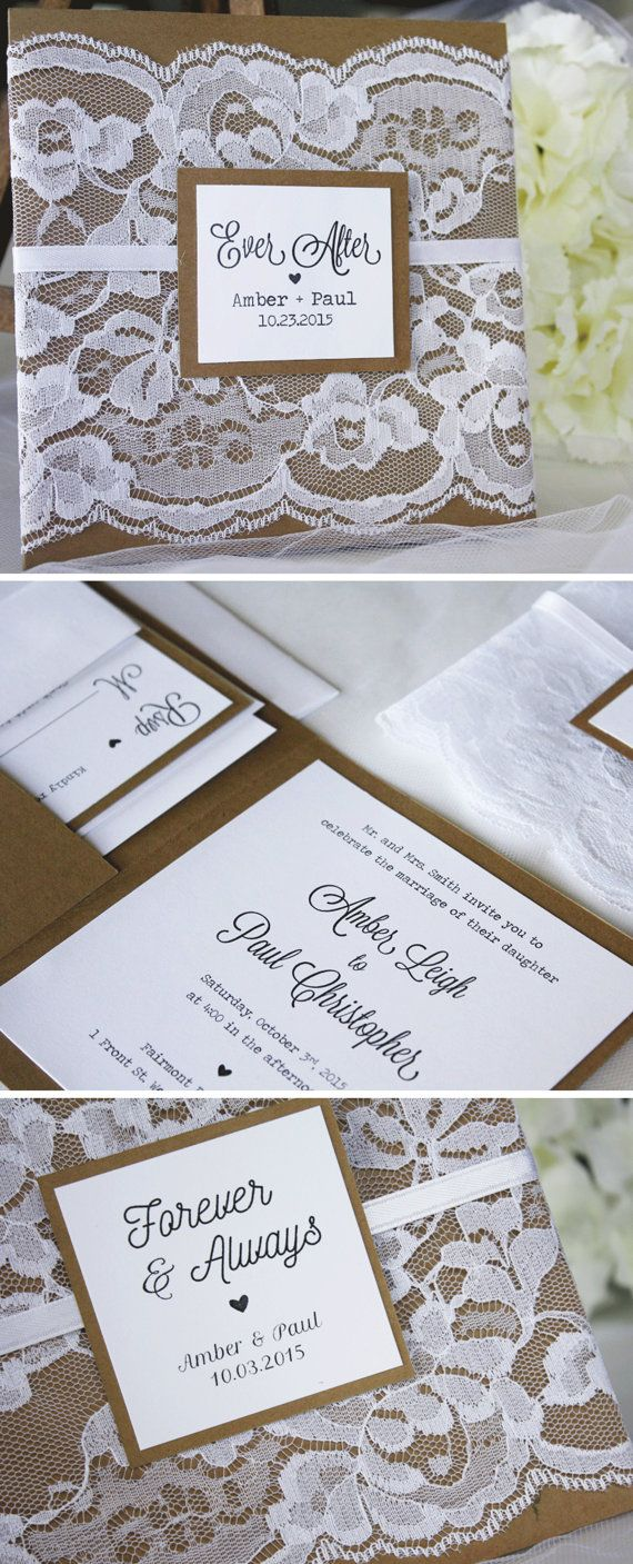 Rustic Lace Wedding Invitations From Always Byamber Wedding