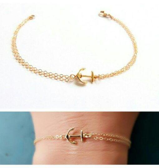 bracelet cadeau femme ancre or idée cadeau femme
