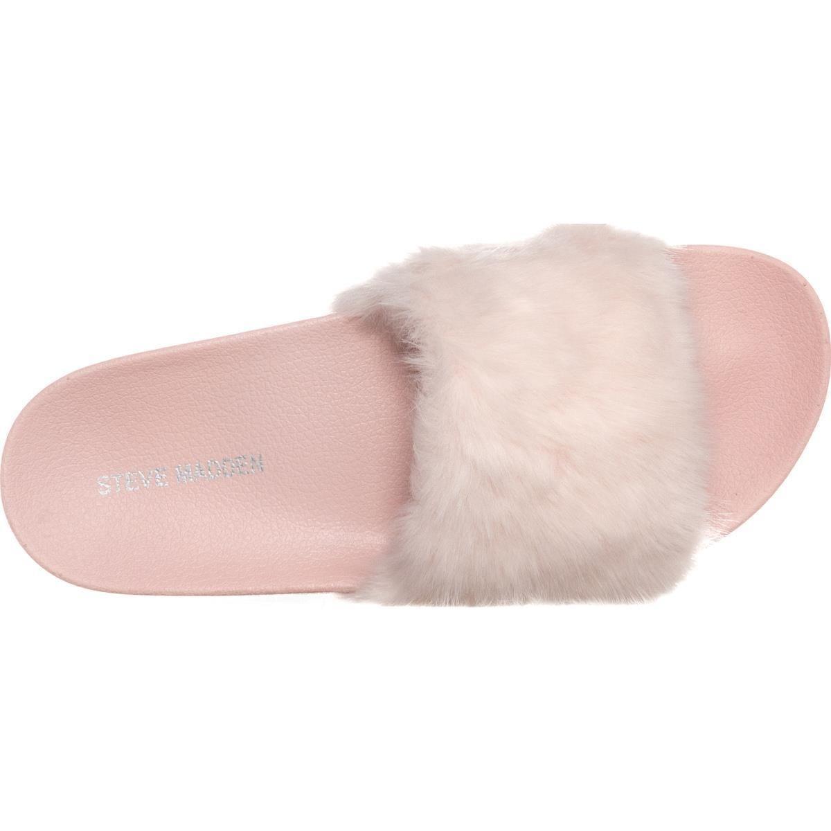 steve madden softey sherling cuffed slide sandals 194 light pink 9