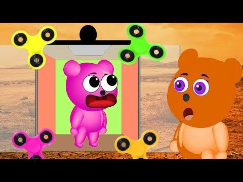 Mega Gummy bear Family Stuck in the Fid Spinner Elevator Cartoon