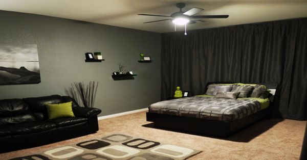 Black And Green Color Scheme Bedsheets + Rug Floor To Ceiling Blackout  Curtains U003d Headboard