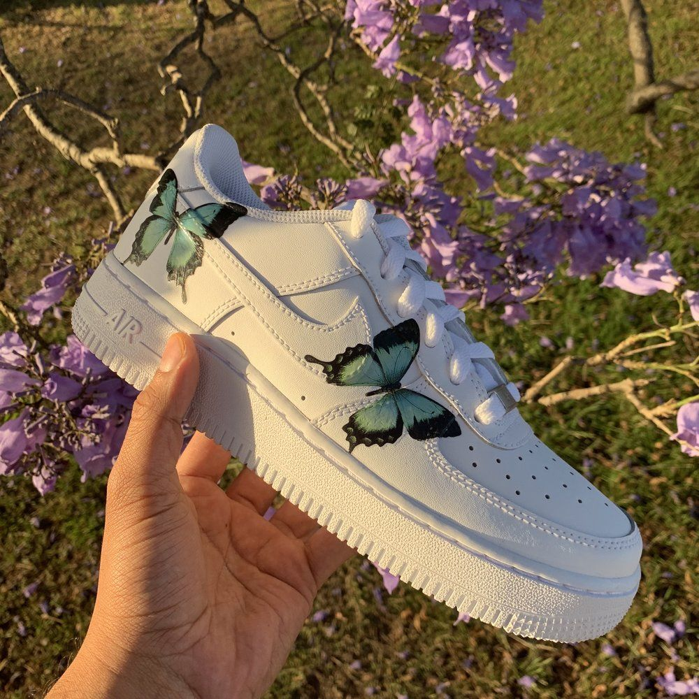 Turquoise HD Clear Butterfly Air Force 1 in 2020