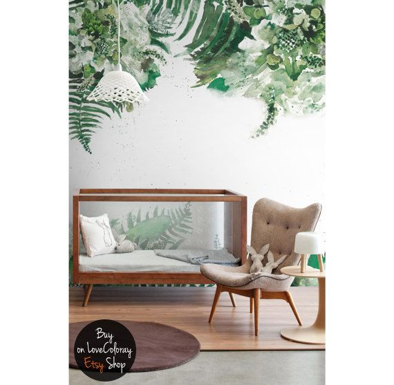 Tropical Green Leaf Removable Wallpaper Leaves Jungle Fl Watercolor Wall Mural Self