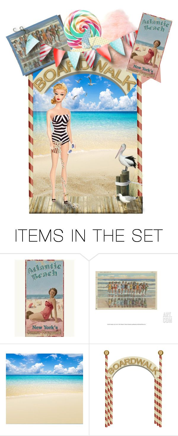"""""""Protect your Popcorn!"""" by kleasterling ❤ liked on Polyvore featuring art, beach, Barbie, boardwalk, AtlanticCity and barbiechallenge"""