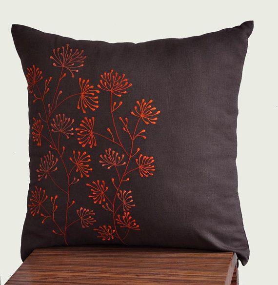 Orange Ixora Throw Pillow Cover Decorative Pillow by KainKain, $23.00