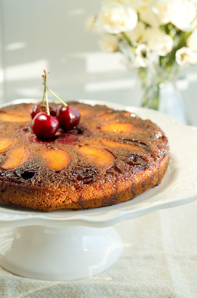 피치 체리 업사이드 다운 케이크