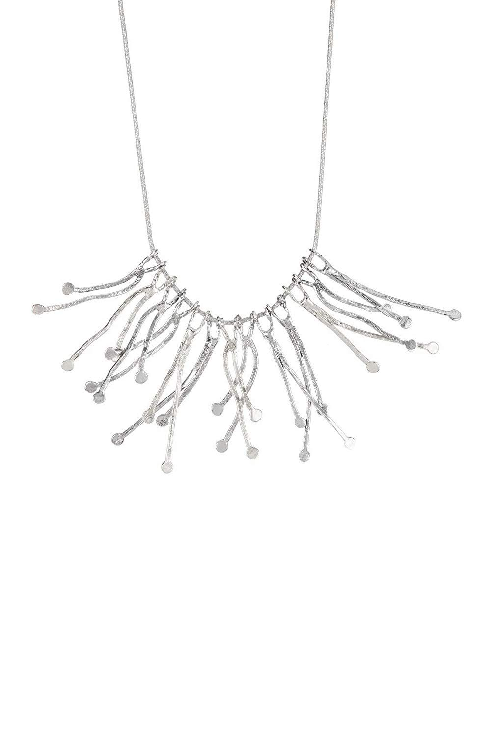 Paz Creations .925 Sterling Silver or Tri-Color Branch Statement Necklace