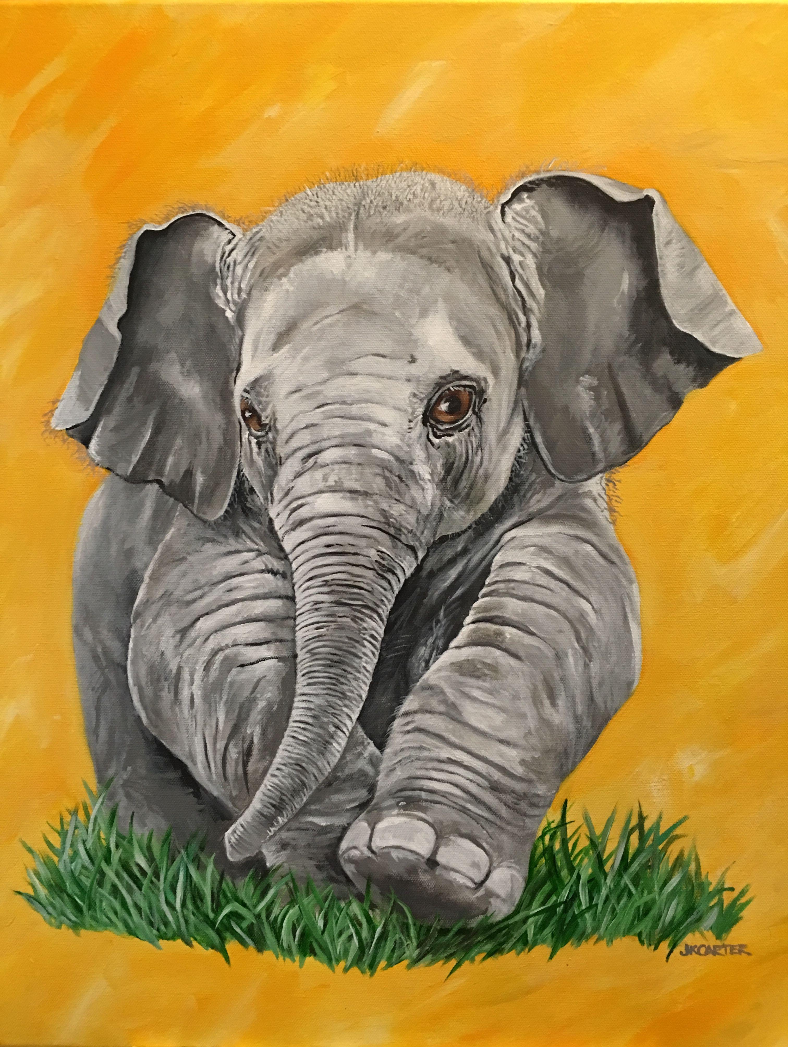 Baby Elephant Nursery art Acrylic painting on canvas by JKCARTER