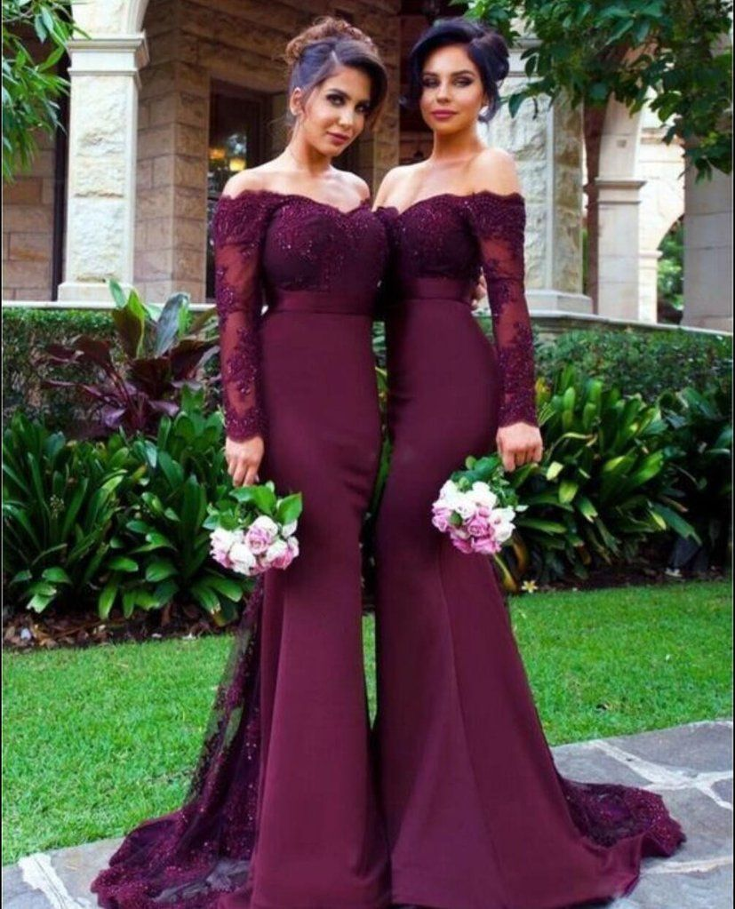 Xb long sleeve lace prom dresspurple mermaid prom dresseslong