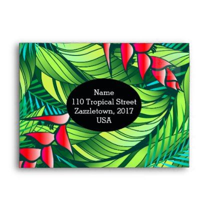 Heliconia Tropical Floral Envelope  Pattern Sample Design