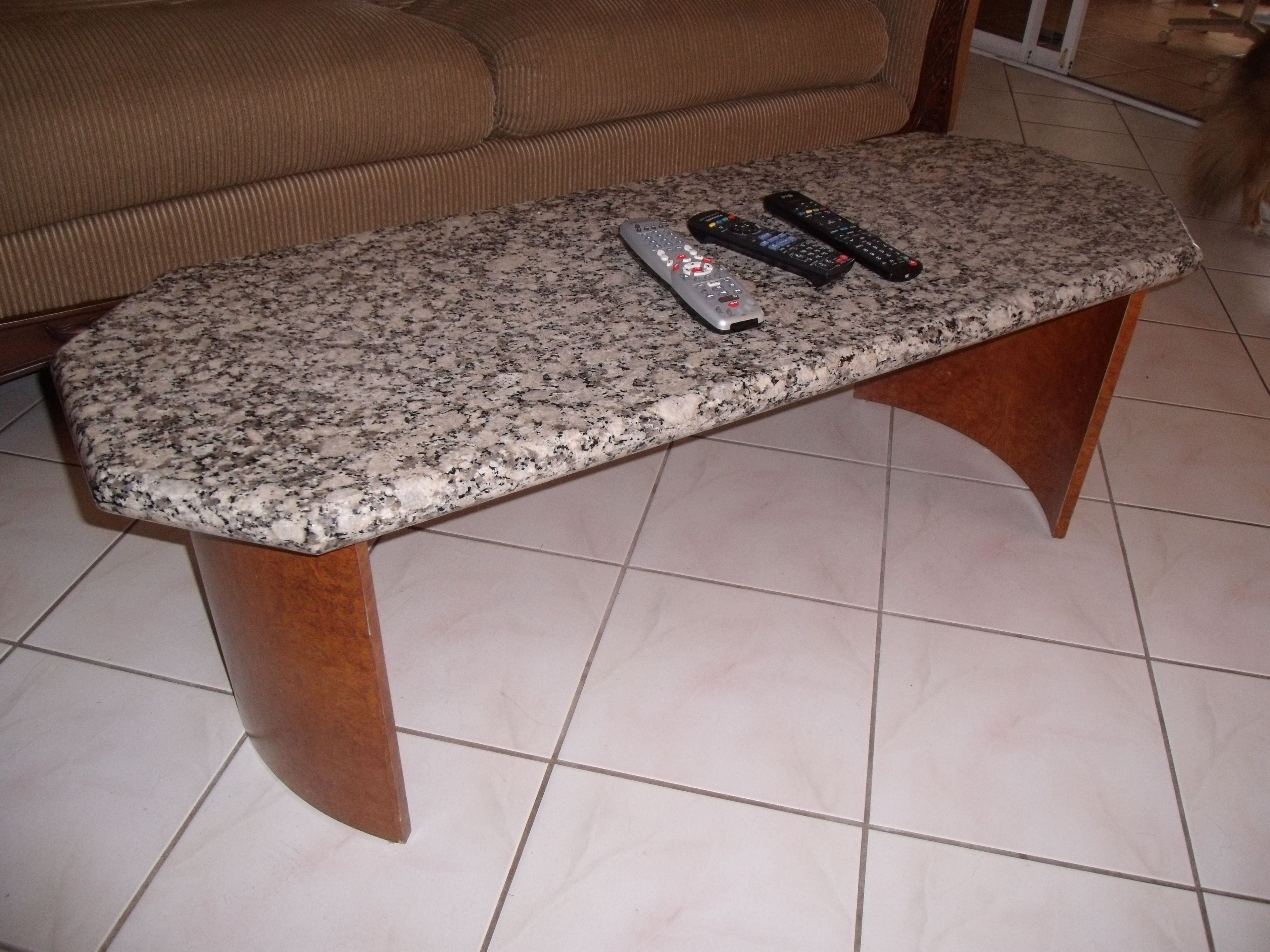 I did NOT make the granite top for our sofa table I was given this