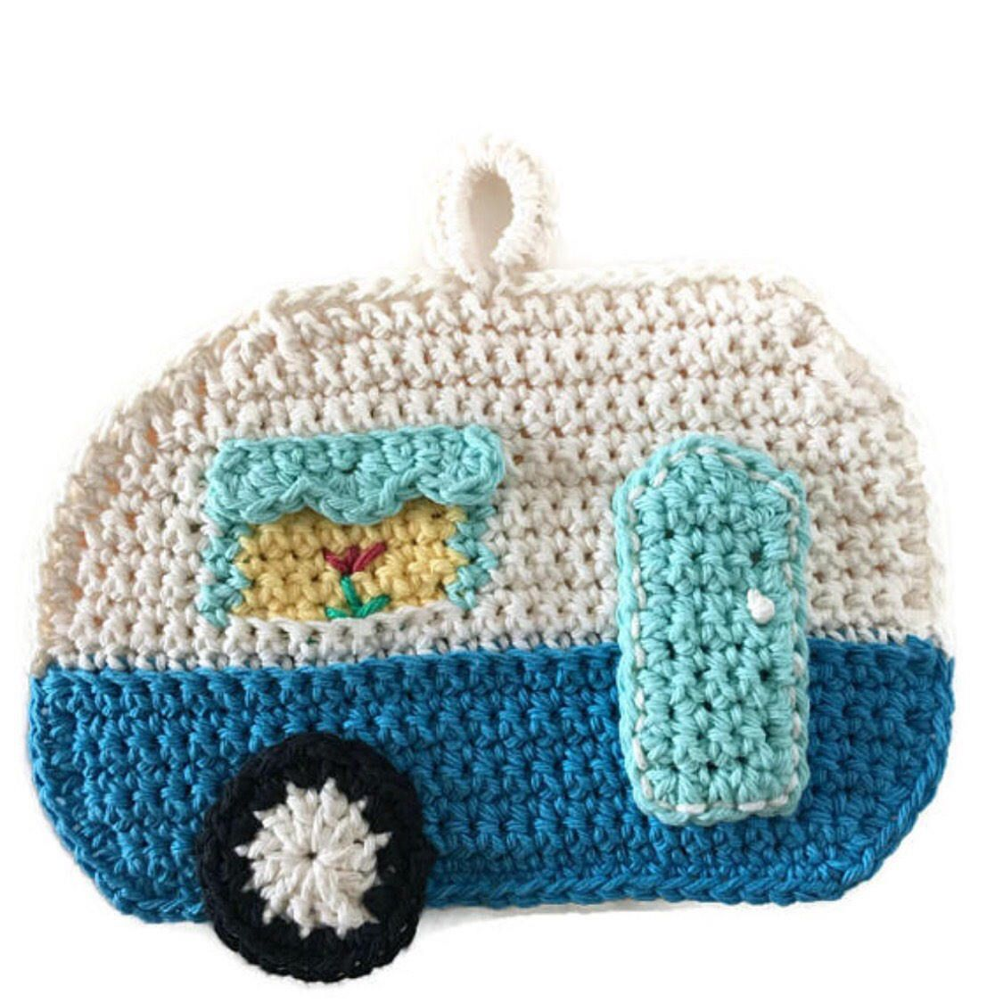 Camper Potholder,RV Pot Holder,Crochet Trivet,Glamping,Travel ...