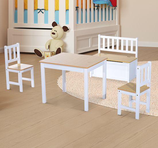 HOMCOM 4 Tlg. Kindersitzgruppe 1 X Kindertisch 2 X Kinderstuhl 1 X  Kinderbank Holz | Babies