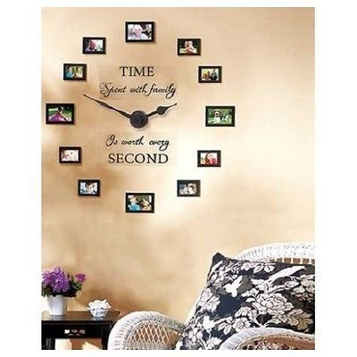 Family Photo Wall Clock Album Picture Frame Collage Memories 12 Frames Pictures Photo Wall Clocks Family Photo Wall Unique Wall Decor