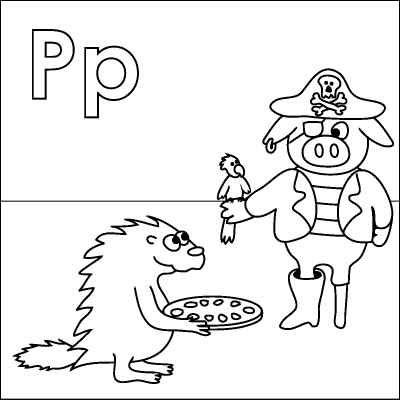 Letter P Coloring Page Porcupine Pizza Pig Pirate Parrot Peg