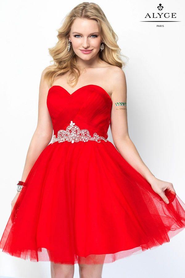 Vestidos de 15 cortos color rojo