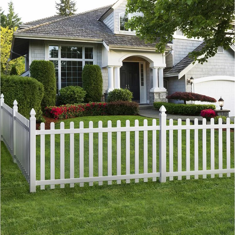 Yorktown 8 Ft H X 4 Ft W Spaced Spade Plus Bracket Vinyl Fencing In 2020 Backyard Fences White Fence Paint Front Yard Fence
