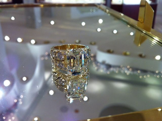 Stunning 5 carat emerald cut diamond set in our folia ® design