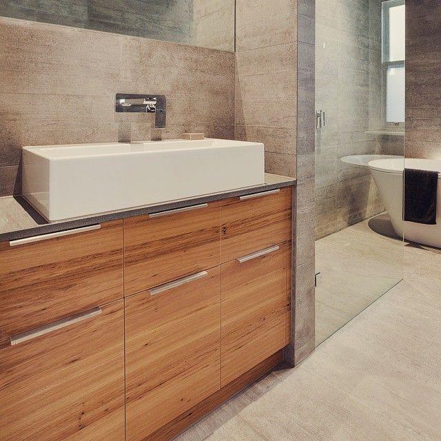 Williamstown Rennovation Bathroom Vanity In Feature Grade Blackbutt Veneer And Clamshell