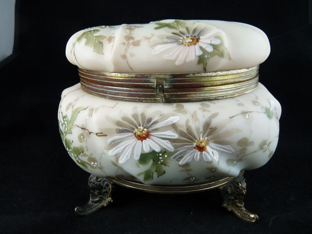 Exceptional C F Monroe Wavecrest Dresser Box Jewelry Casket from ornaments on Ruby Lane