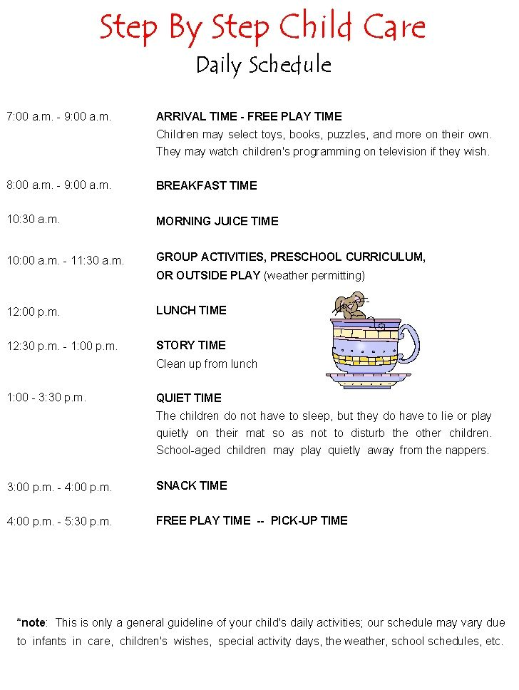 Daily schedule daycare schedule preschool schedule