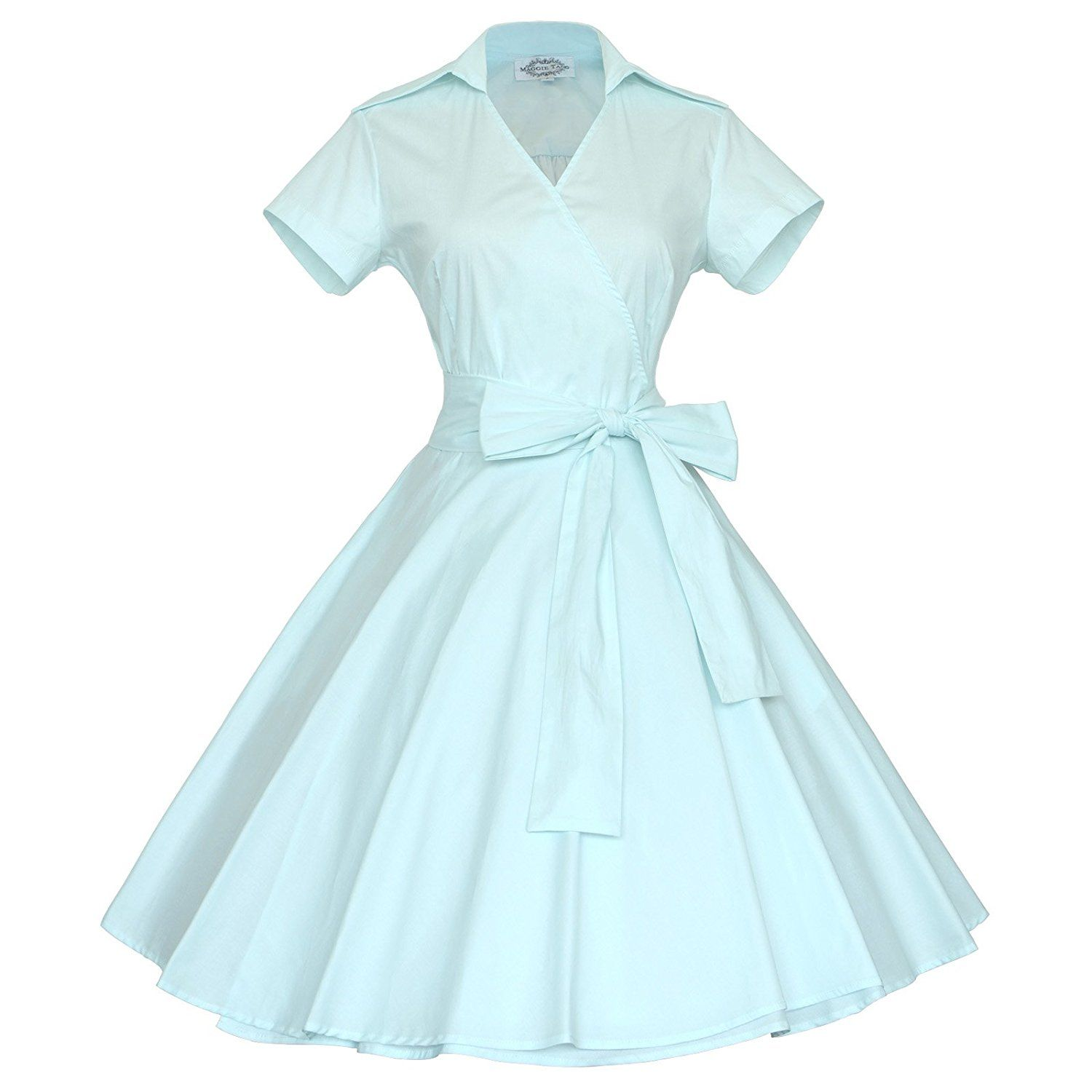 Maggie Tang 50s 60s Vintage Short Sleeves Rockabilly Party Dress ...