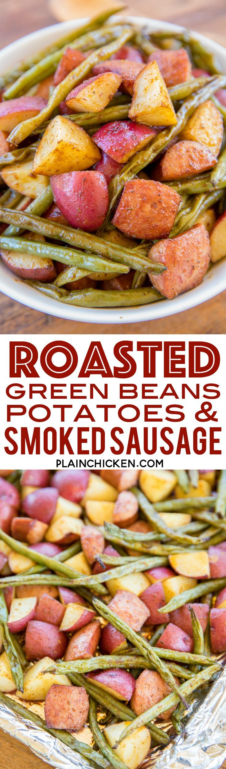 Roasted green beans potatoes and smoked sausage easy