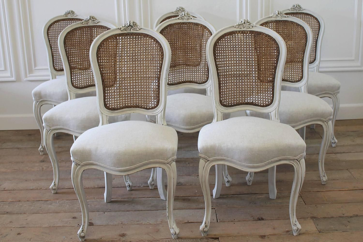 Set Of Eight Vintage French Painted Cane Back Dining Chairs
