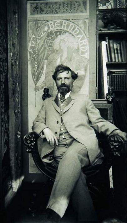 Alphonse Mucha. Creator of numerous Art Nouveau works with a Czech twist.