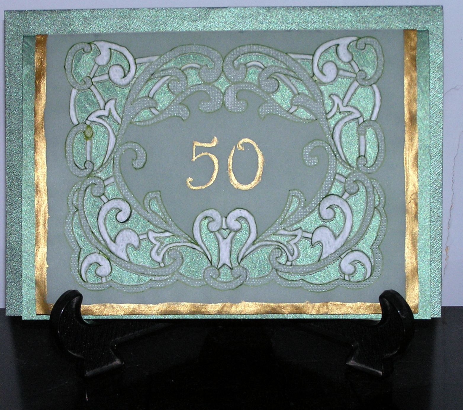 A Card For A 50th Birthday My Finished Parchment Craft Projects