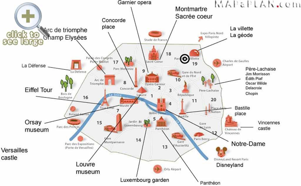 17 Best images about Paris top tourist attractions map on – Attraction Map of Paris