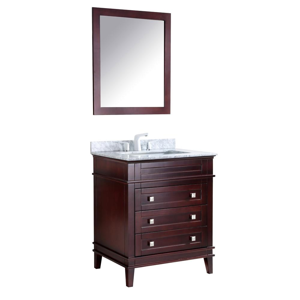 Anzzi Wineck 36 In W X 35 In H Bath Vanity In Chocolate With Marble Vanity Top In Carrara White With White Basin And Mirror Marble Vanity Tops Single Sink Bathroom