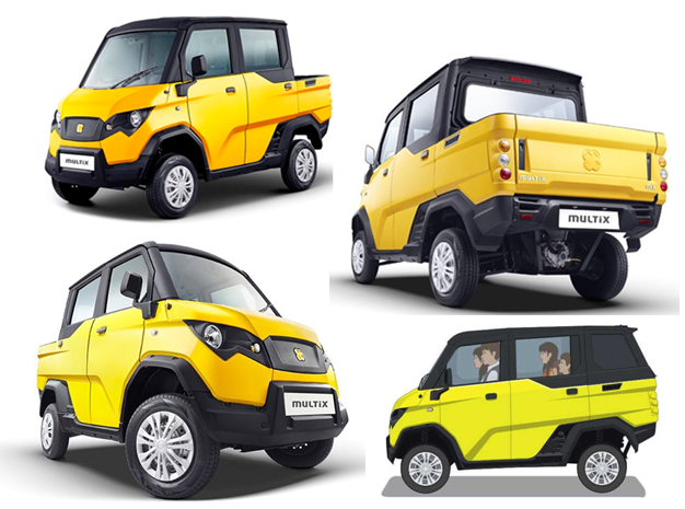 "The Multix is India's first ""personal utility vehicle"". The Multix is priced between Rs 2.32 to Rs 2.72 lakh, ex-Showroom, Jaipur.The Multix will be available in two variants and four colors, and will be powered by a 600 cc diesel engine capable of delivering 28.45 km/l. For More Details visit www.multix.in"