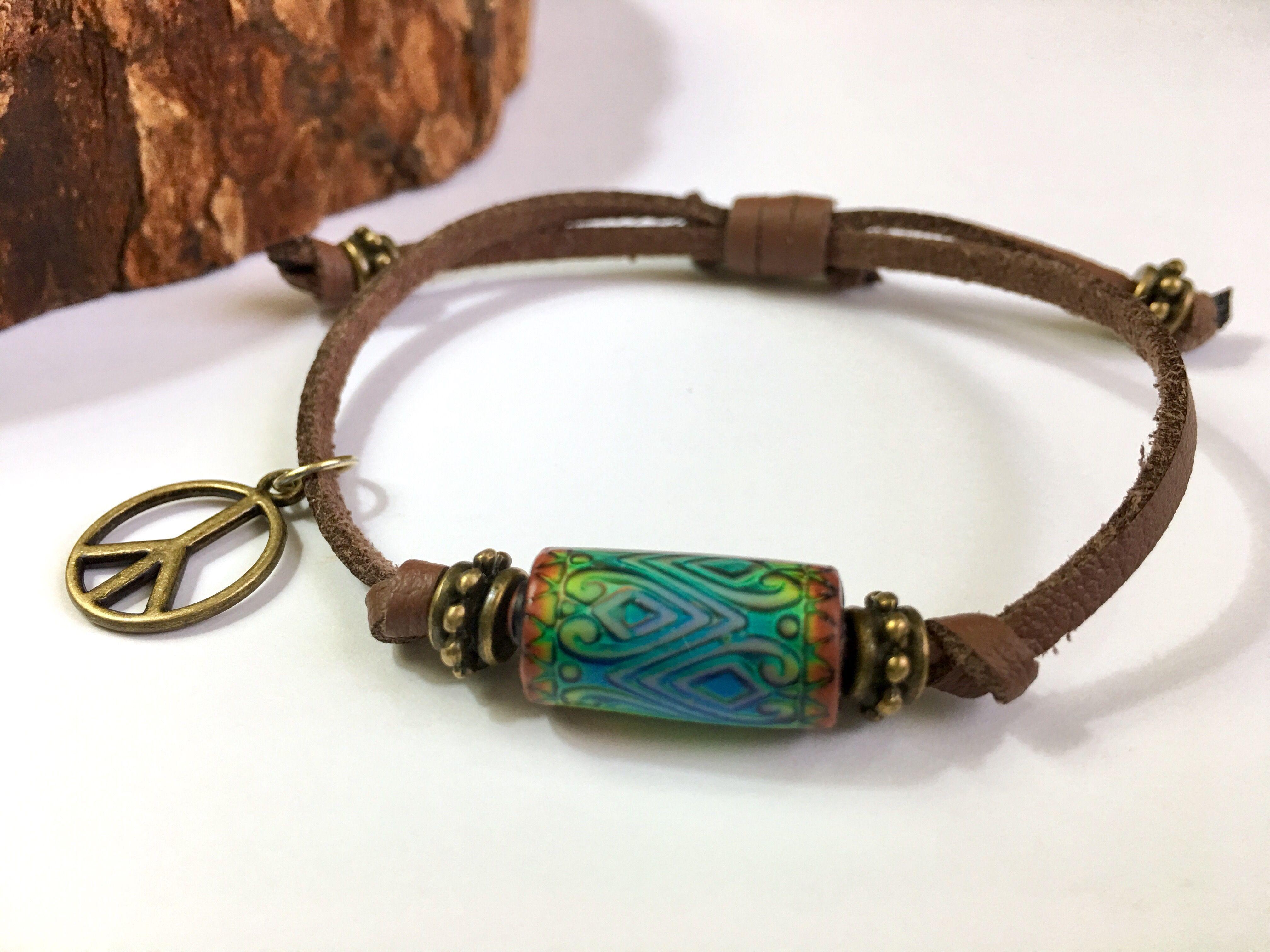 Retromod colorchanging mood bracelet with peace charm handmade