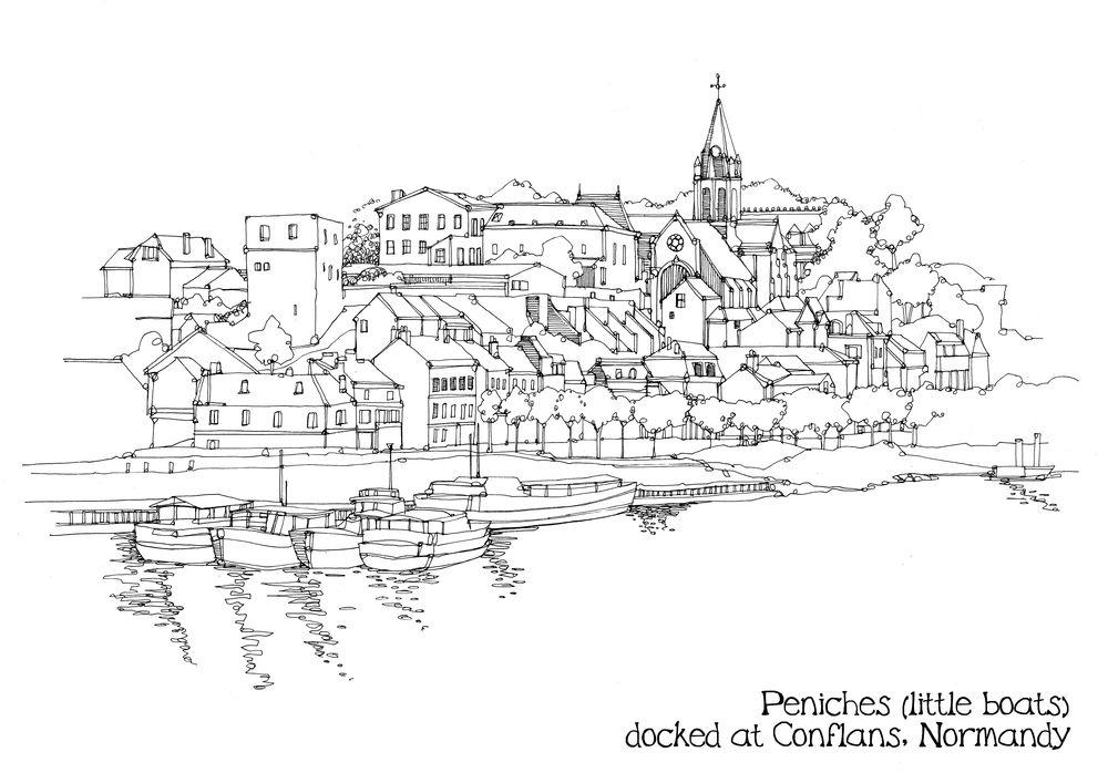 Peniches pen.jpg   City artwork, Cityscape drawing, City ...