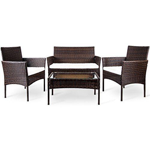 Patio Furniture Sets - Merax 4 PC Outdoor Garden Rattan Patio