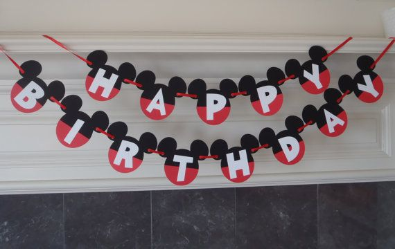 Mickey Mouse Birthday Banner DIY Kit Optional Custom Name with Free