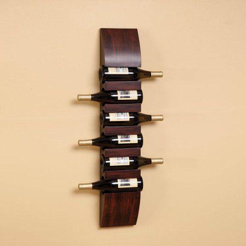 Wood WINE BOTTLE Holder Rack WALL MOUNT 6 bottle 3FT