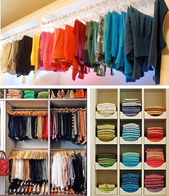 Three Easy To Do Tips For Organizing Your Closets Color Coded Closet Closet Organization Clothes Organization