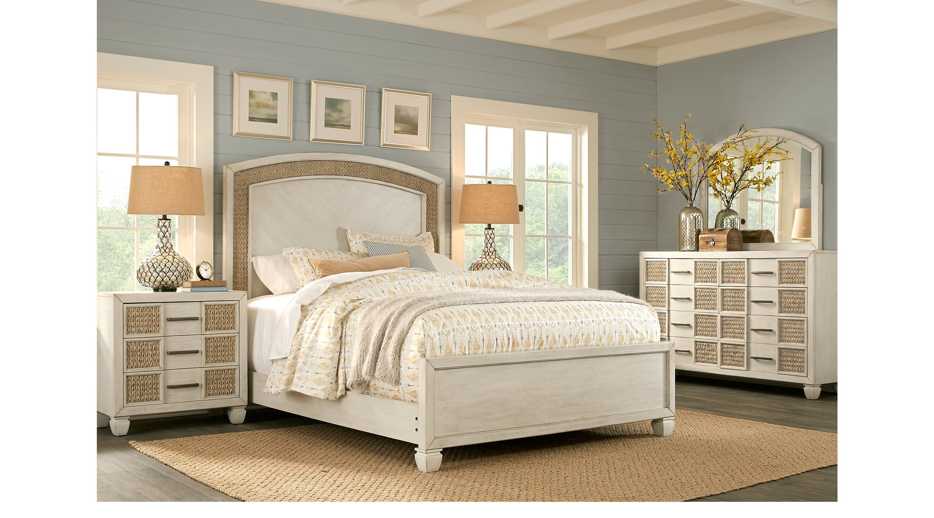 king bedroom sets  rooms to go  coastal bay white 7 pc