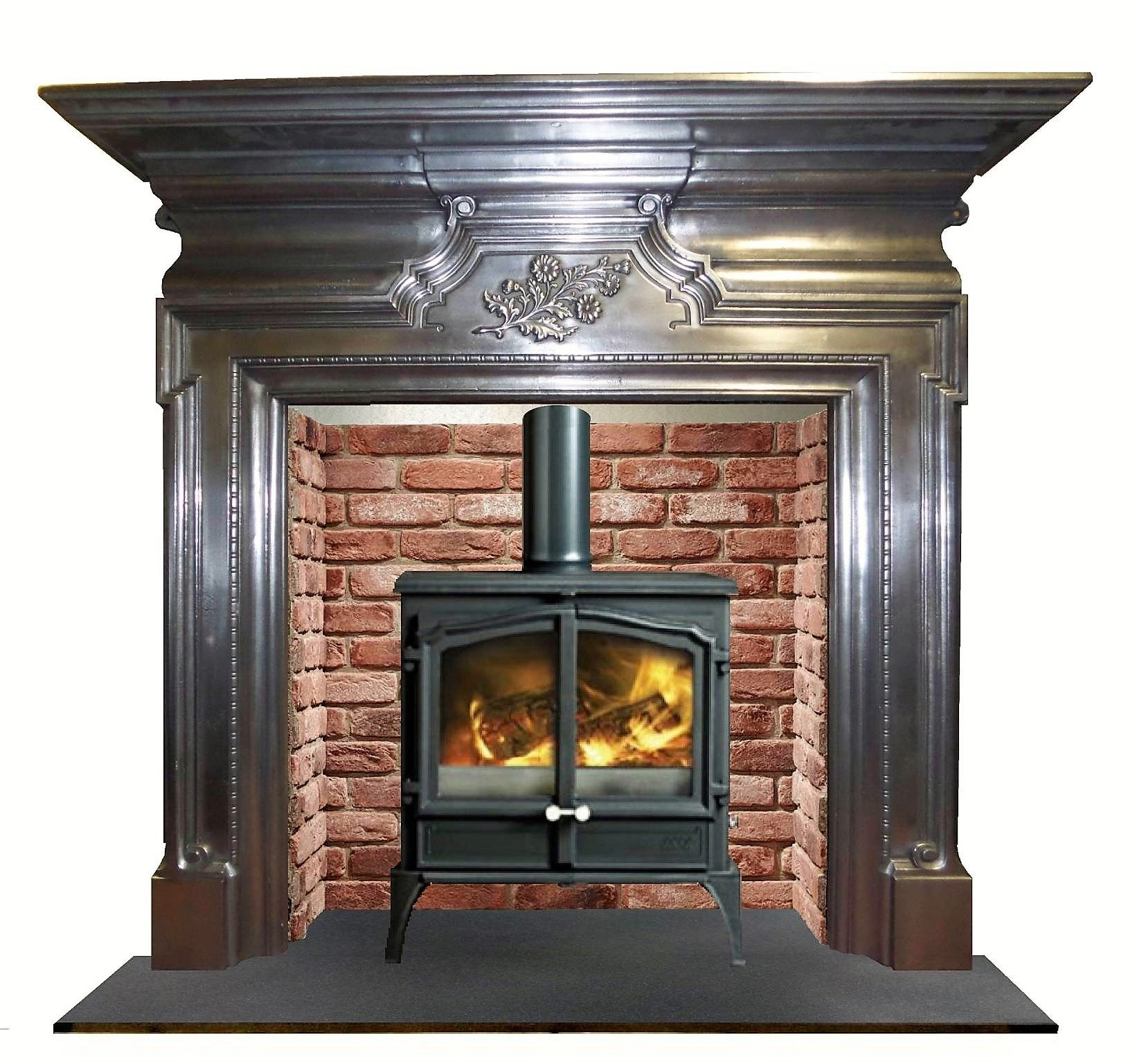 antique cast iron surround with a stove vintage retro and modern