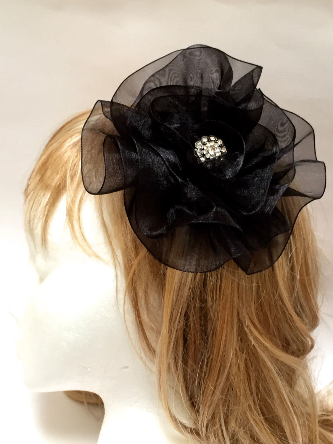 3e4128dd Excited to share the latest addition to my #etsy shop: Black Flower  Fascinator, Fabric Flower Hair Clip, Large Black Flower