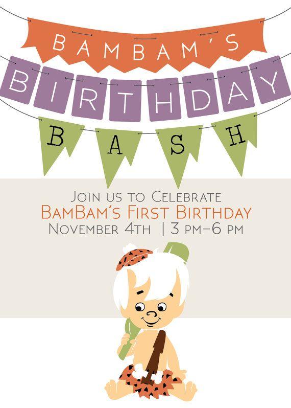 BamBam Birthday Bash Invite! Flintstones Customizable